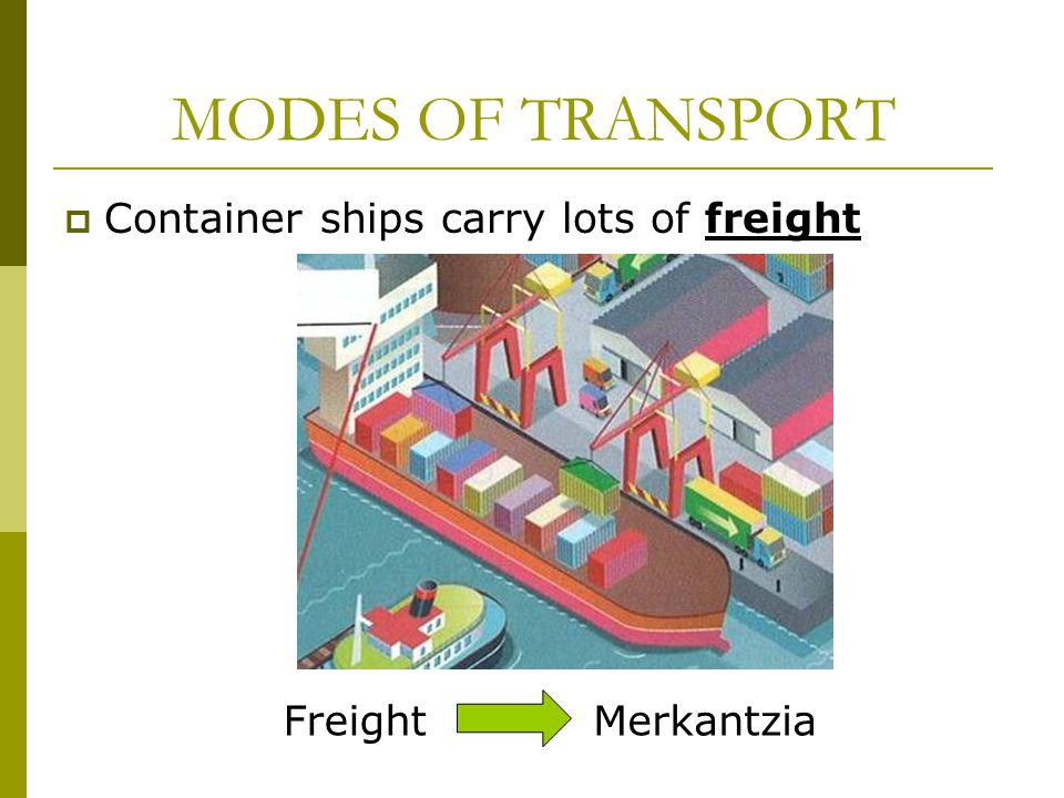  Container ships carry lots of freight MODES OF TRANSPORT MerkantziaFreight