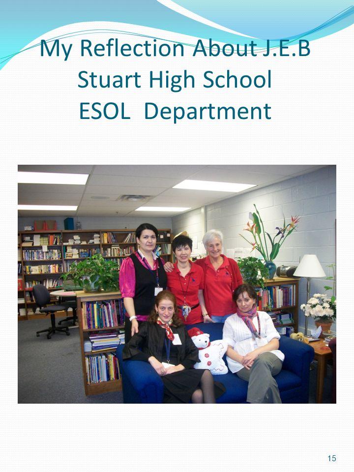 My Reflection About J.E.B Stuart High School ESOL Department 15