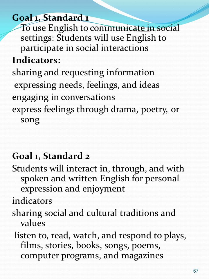 67 Goal 1, Standard 1 To use English to communicate in social settings: Students will use English to participate in social interactions Indicators: sharing and requesting information expressing needs, feelings, and ideas engaging in conversations express feelings through drama, poetry, or song Goal 1, Standard 2 Students will interact in, through, and with spoken and written English for personal expression and enjoyment indicators sharing social and cultural traditions and values listen to, read, watch, and respond to plays, films, stories, books, songs, poems, computer programs, and magazines