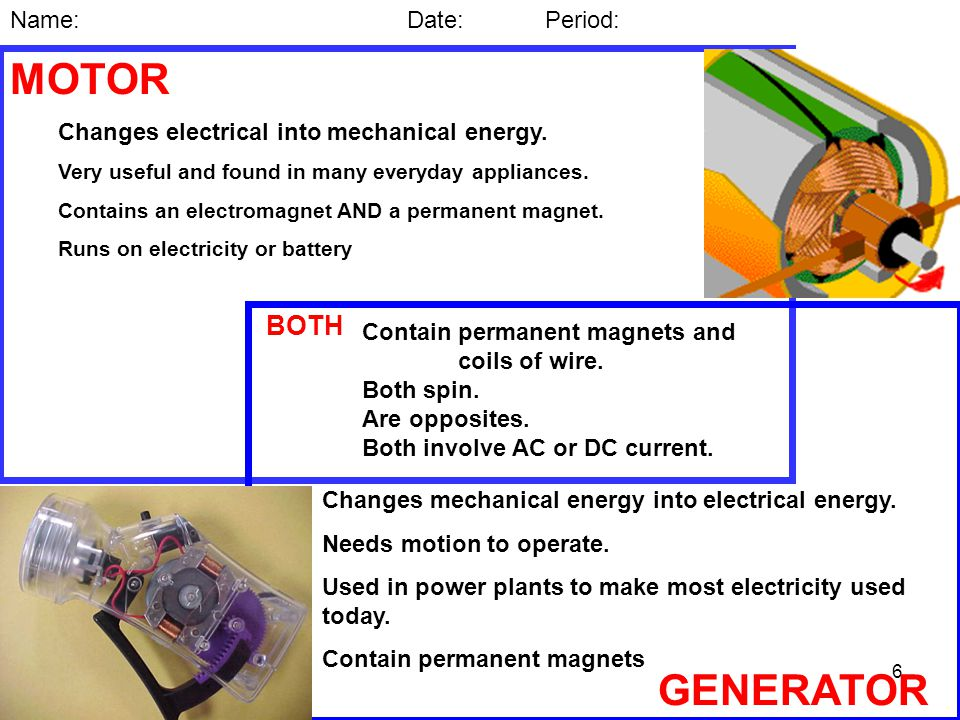 6 MOTOR BOTH GENERATOR Name: Date: Period: Changes electrical into mechanical energy.