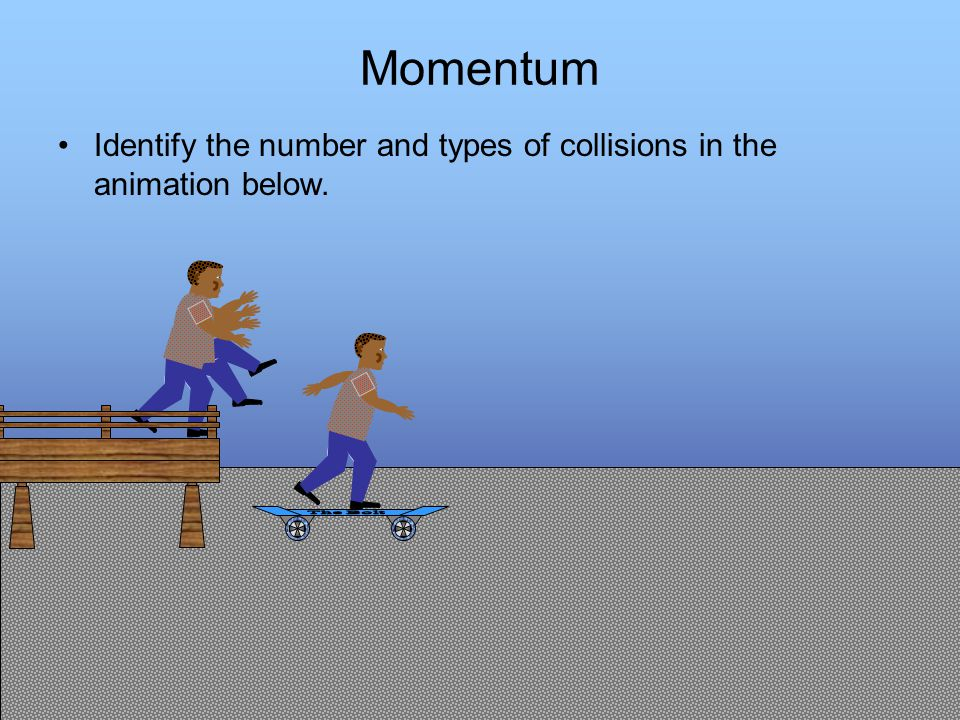 Presentation designed by DBHS physics department Momentum Identify the number and types of collisions in the animation below.