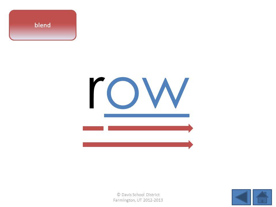 vowel pattern row blend © Davis School District Farmington, UT 2012-2013