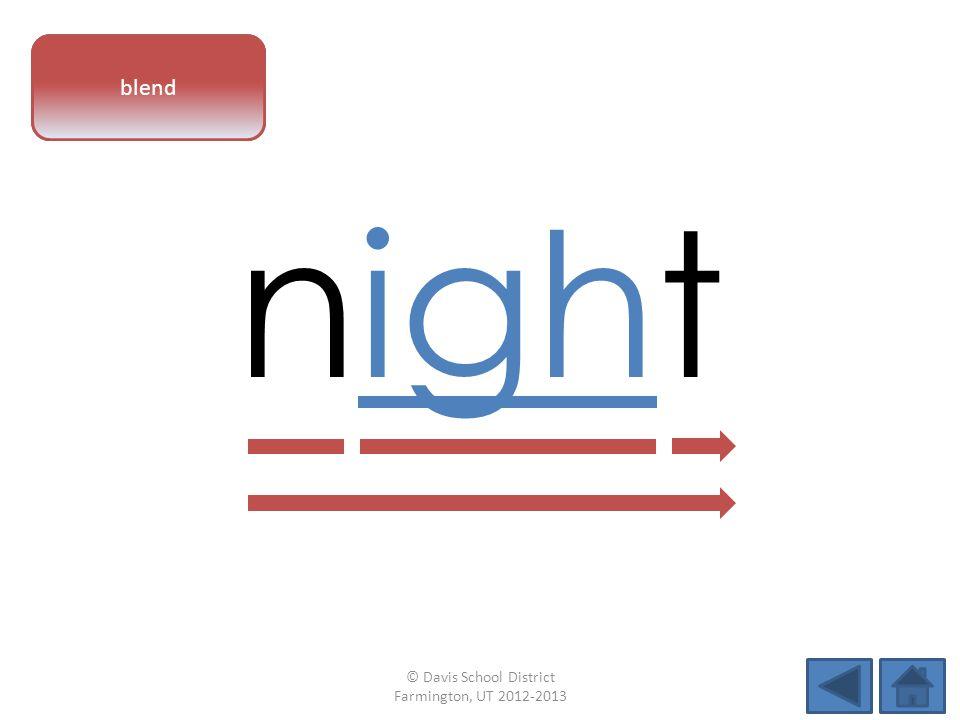 vowel pattern night blend © Davis School District Farmington, UT 2012-2013