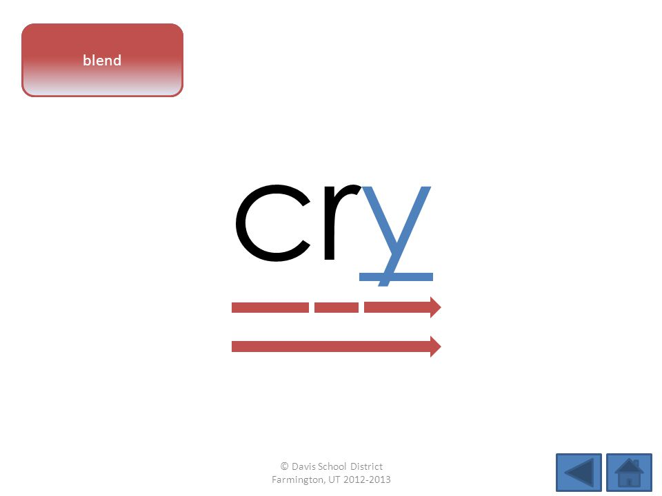 vowel pattern cry blend © Davis School District Farmington, UT 2012-2013
