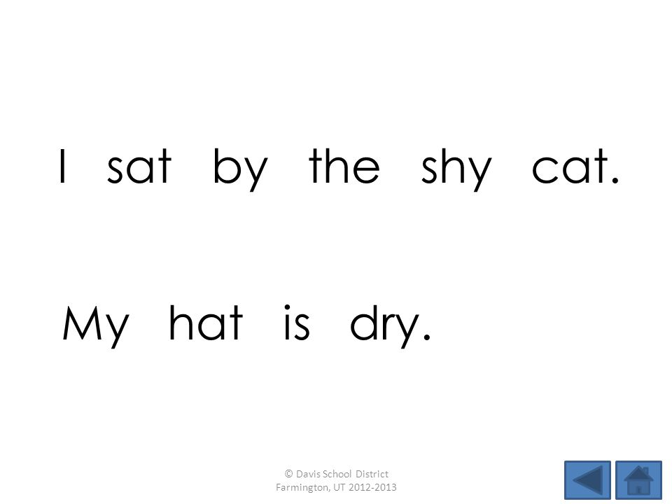 I sat by the shy cat. © Davis School District Farmington, UT 2012-2013 My hat is dry.