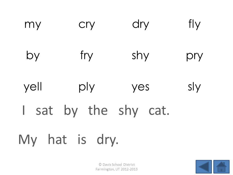 mycrydryfly byfryshypry yellplyyessly My hat is dry. © Davis School District Farmington, UT 2012-2013 I sat by the shy cat.