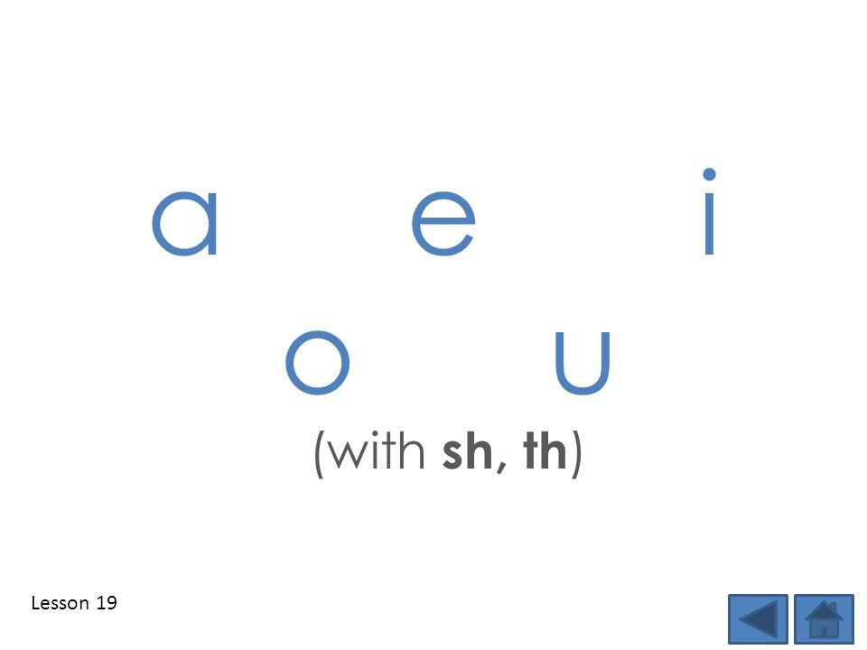 Lesson 19 a e i o u (with sh, th )