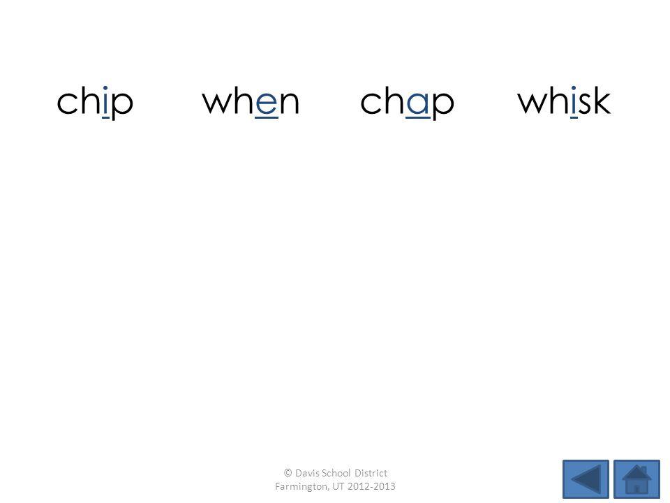 chipwhenchapwhisk suchinchwhipwhiz whiffchumwhichbunch © Davis School District Farmington, UT 2012-2013