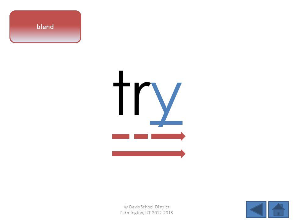 vowel pattern try blend © Davis School District Farmington, UT 2012-2013