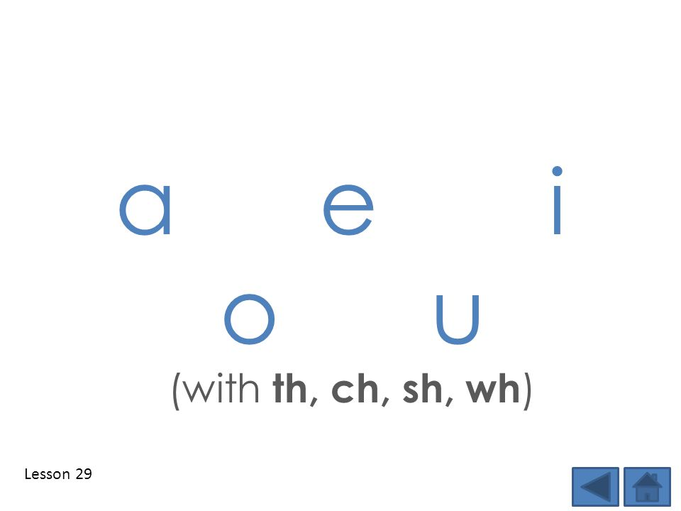 Lesson 29 a e i o u (with th, ch, sh, wh )