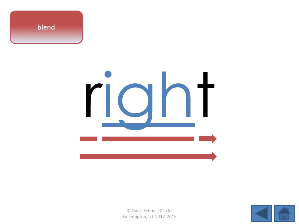 vowel pattern right blend © Davis School District Farmington, UT 2012-2013