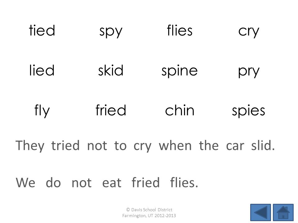 tiedspyfliescry liedskidspinepry flyfriedchinspies We do not eat fried flies. © Davis School District Farmington, UT 2012-2013 They tried not to cry w