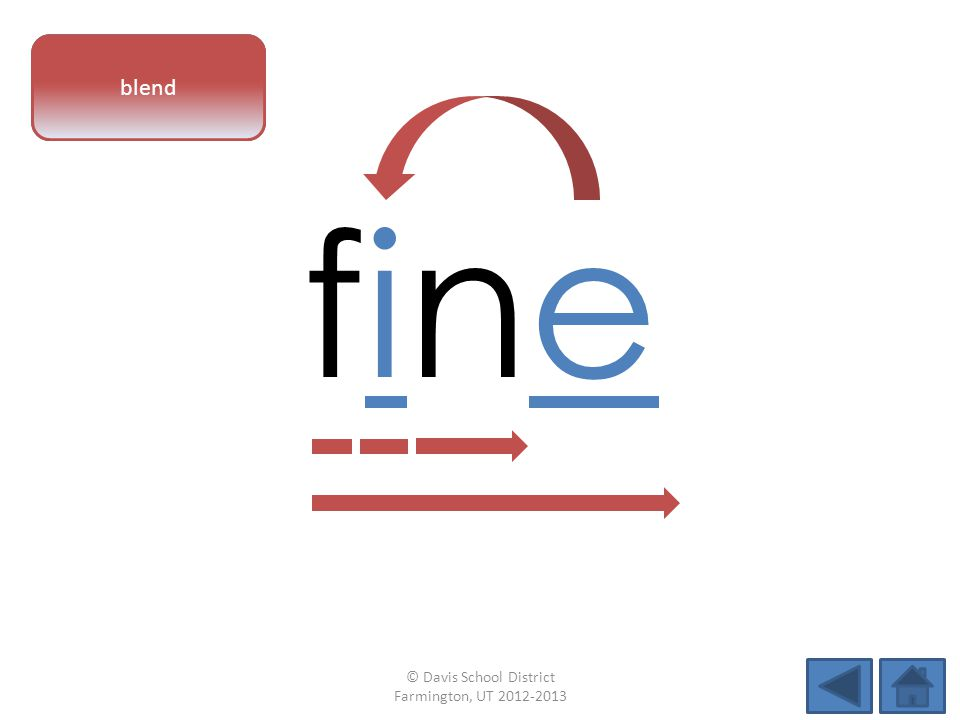 vowel pattern finefine blend © Davis School District Farmington, UT 2012-2013