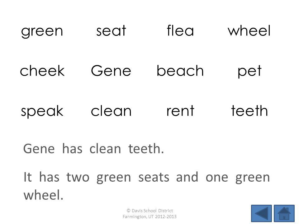 greenseatfleawheel cheekGenebeachpet speakcleanrentteeth It has two green seats and one green wheel. © Davis School District Farmington, UT 2012-2013