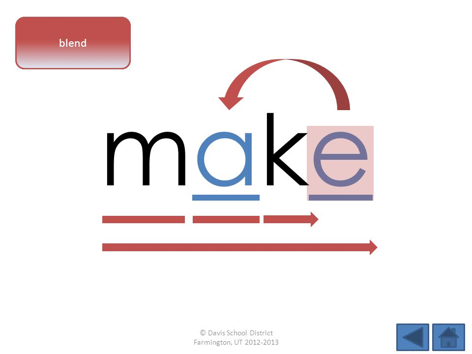 vowel pattern makemake blend © Davis School District Farmington, UT 2012-2013