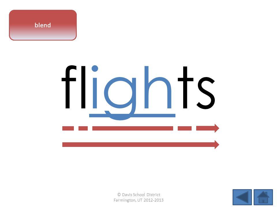 vowel pattern flights blend © Davis School District Farmington, UT 2012-2013