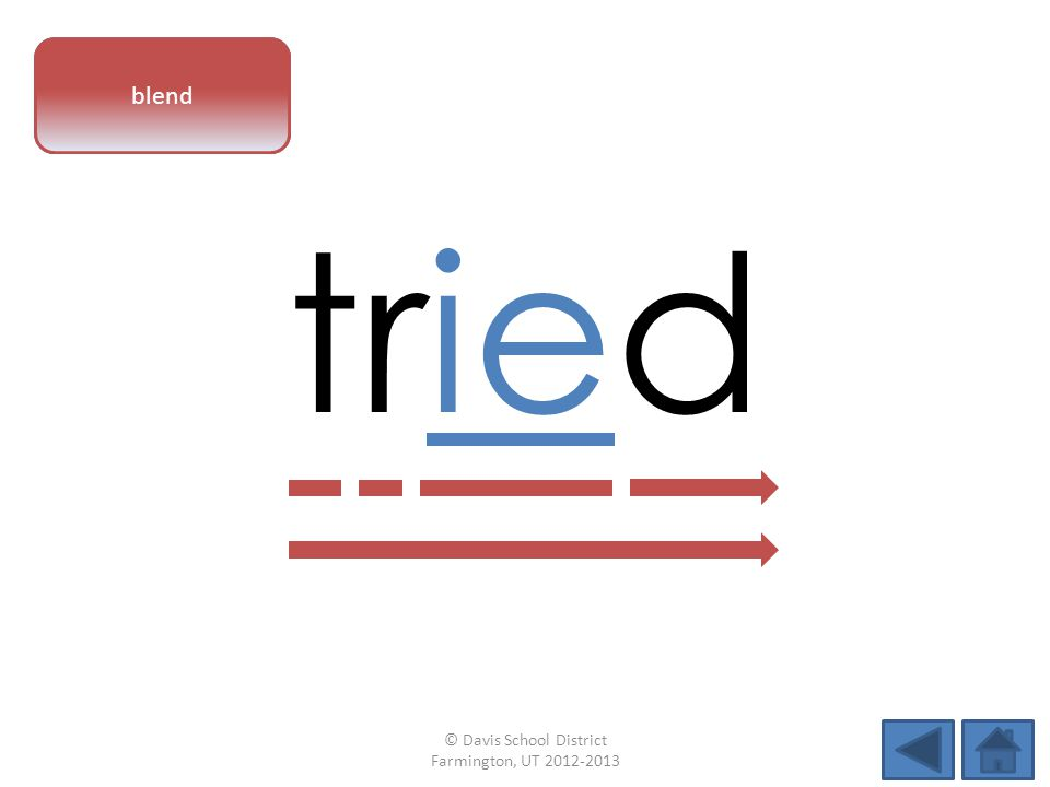 vowel pattern tried blend © Davis School District Farmington, UT 2012-2013
