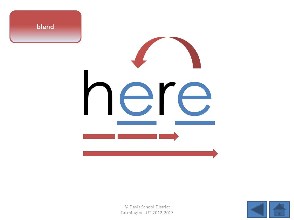 vowel pattern herehere blend © Davis School District Farmington, UT 2012-2013