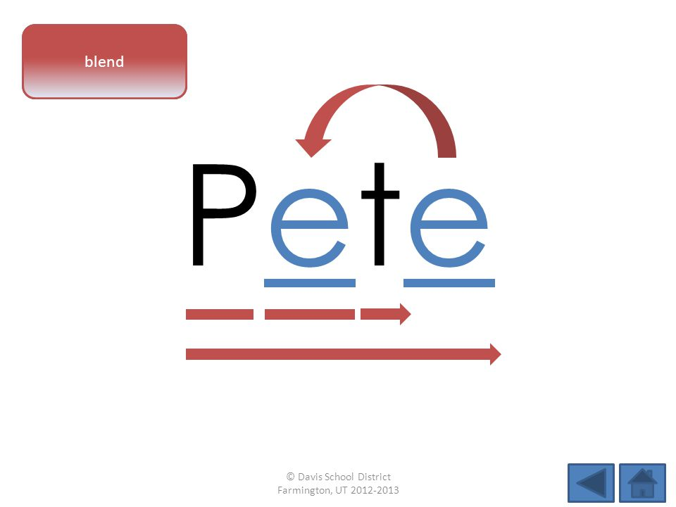 vowel pattern PetePete blend © Davis School District Farmington, UT 2012-2013