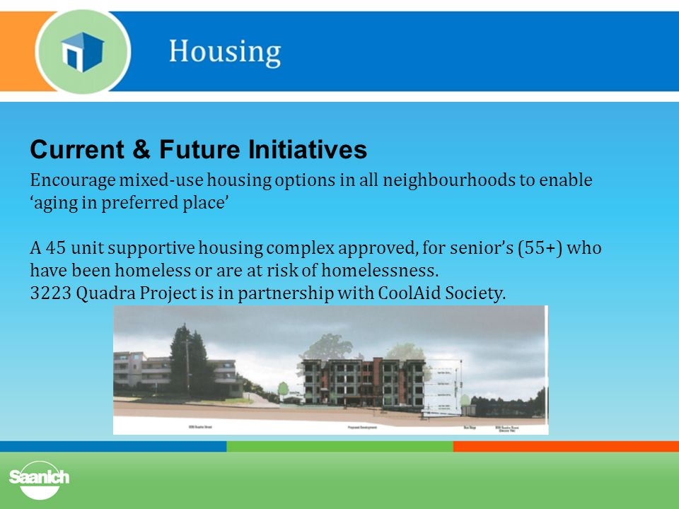 Current & Future Initiatives Encourage mixed-use housing options in all neighbourhoods to enable 'aging in preferred place' A 45 unit supportive housing complex approved, for senior's (55+) who have been homeless or are at risk of homelessness.