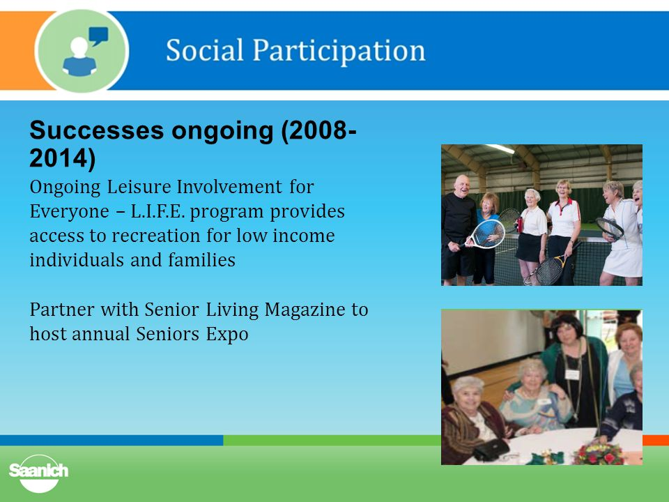 Successes ongoing (2008- 2014) Ongoing Leisure Involvement for Everyone – L.I.F.E.
