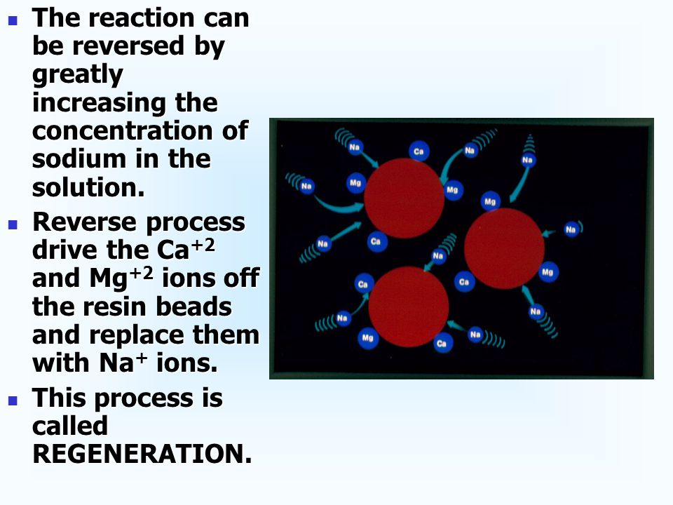 After a vast number of Ca +2 and Mg +2 ions have become attached to the resin beads, and most of the Na + ions have been released, the resin can no longer soften the water.