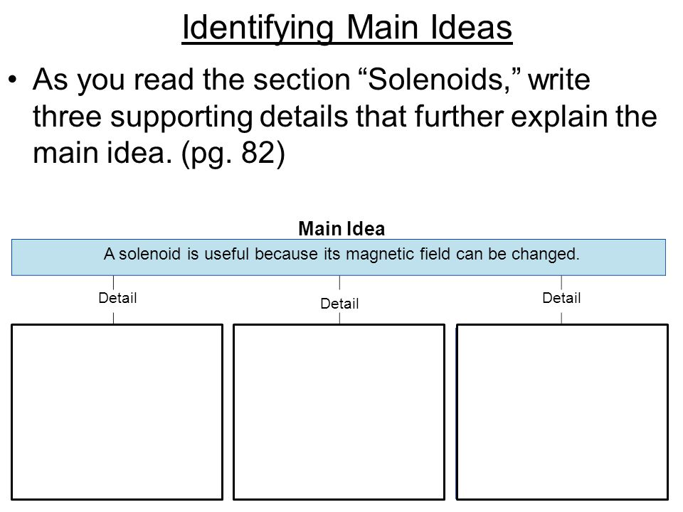 "Main Idea Detail Identifying Main Ideas As you read the section ""Solenoids,"" write three supporting details that further explain the main idea. (pg. 8"