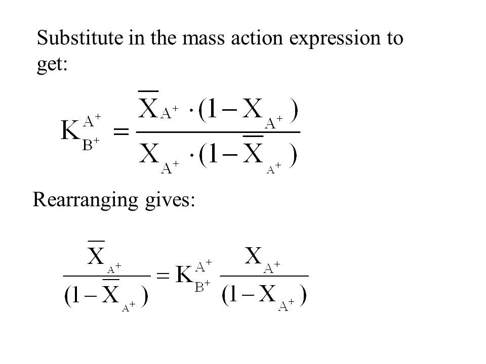 Substitute in the mass action expression to get: Rearranging gives: