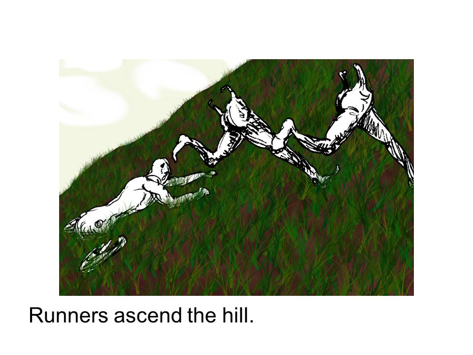 Runners ascend the hill.