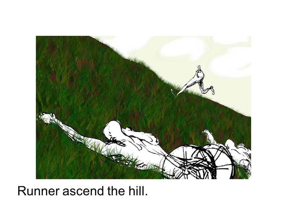 Runner ascend the hill.