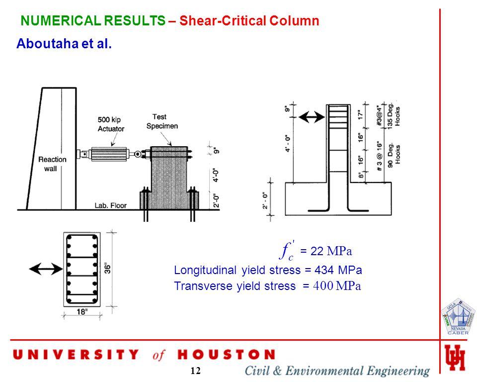 12 NUMERICAL RESULTS – Shear-Critical Column Aboutaha et al.