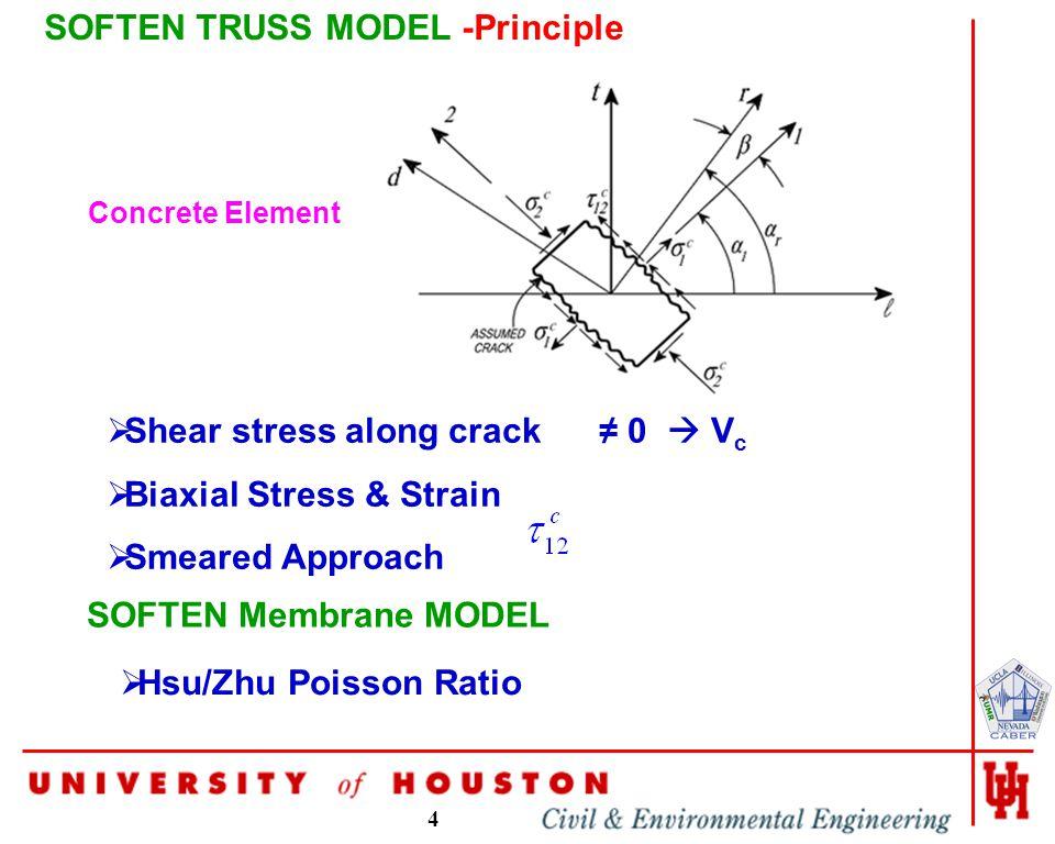 4 SOFTEN TRUSS MODEL -Principle  Shear stress along crack ≠ 0  V c  Biaxial Stress & Strain  Smeared Approach Concrete Element SOFTEN Membrane MODEL  Hsu/Zhu Poisson Ratio