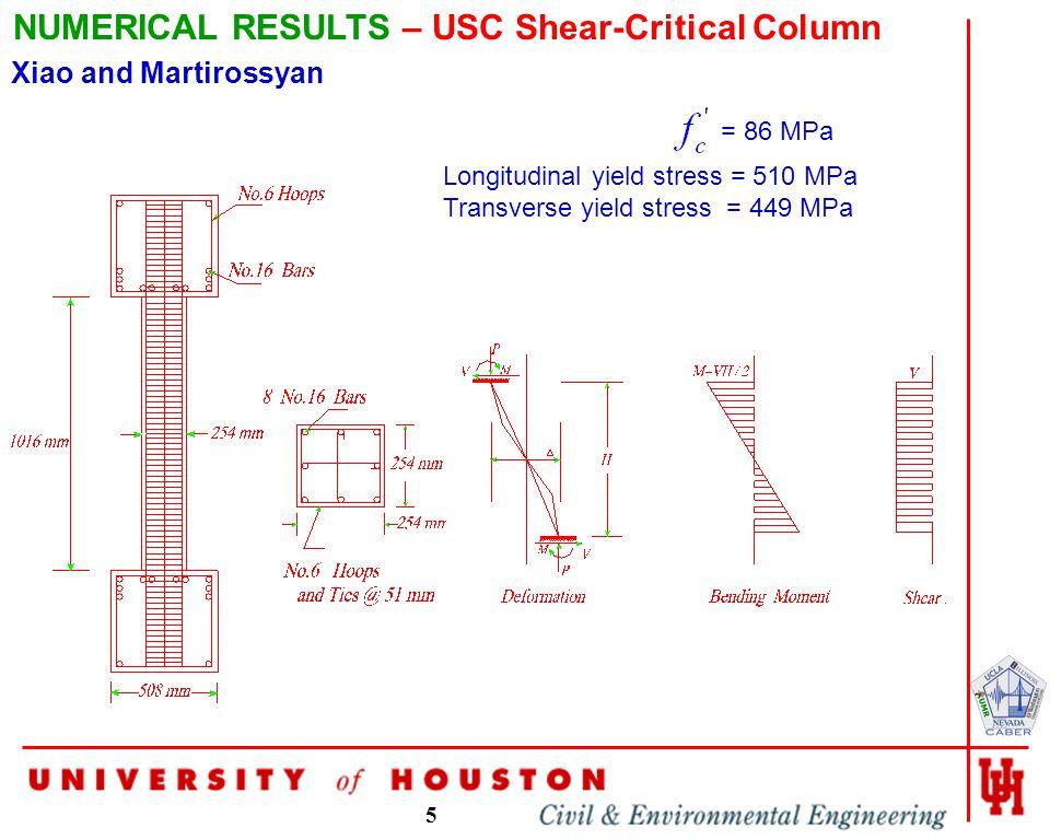 5 NUMERICAL RESULTS – USC Shear-Critical Column = 86 MPa Longitudinal yield stress = 510 MPa Transverse yield stress = 449 MPa Xiao and Martirossyan