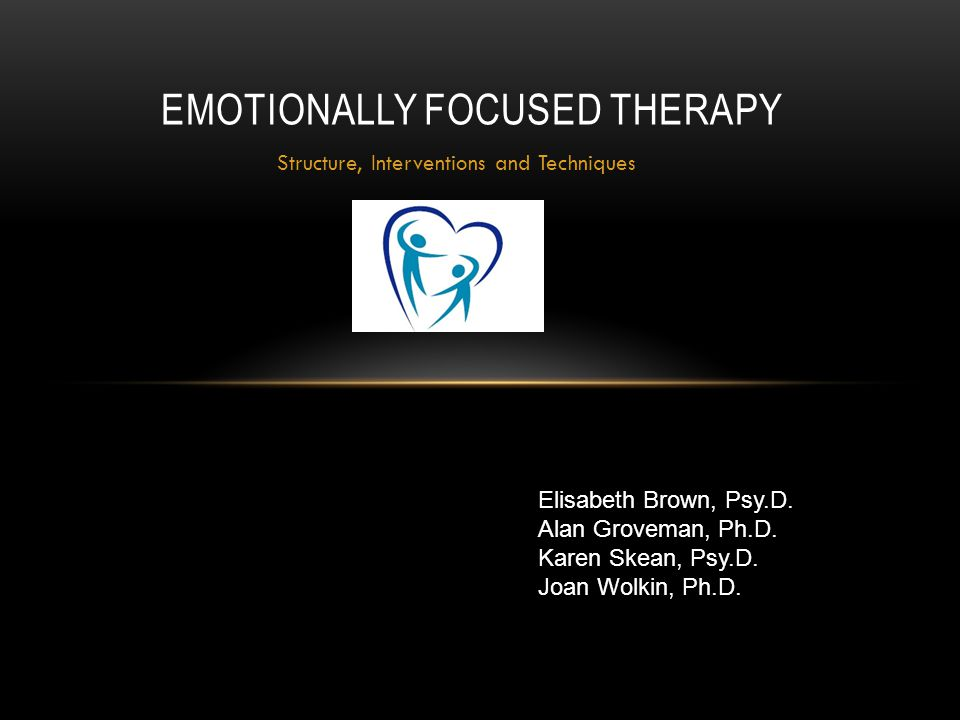 Structure, Interventions and Techniques EMOTIONALLY FOCUSED THERAPY Elisabeth Brown, Psy.D. Alan Groveman, Ph.D. Karen Skean, Psy.D. Joan Wolkin, Ph.D