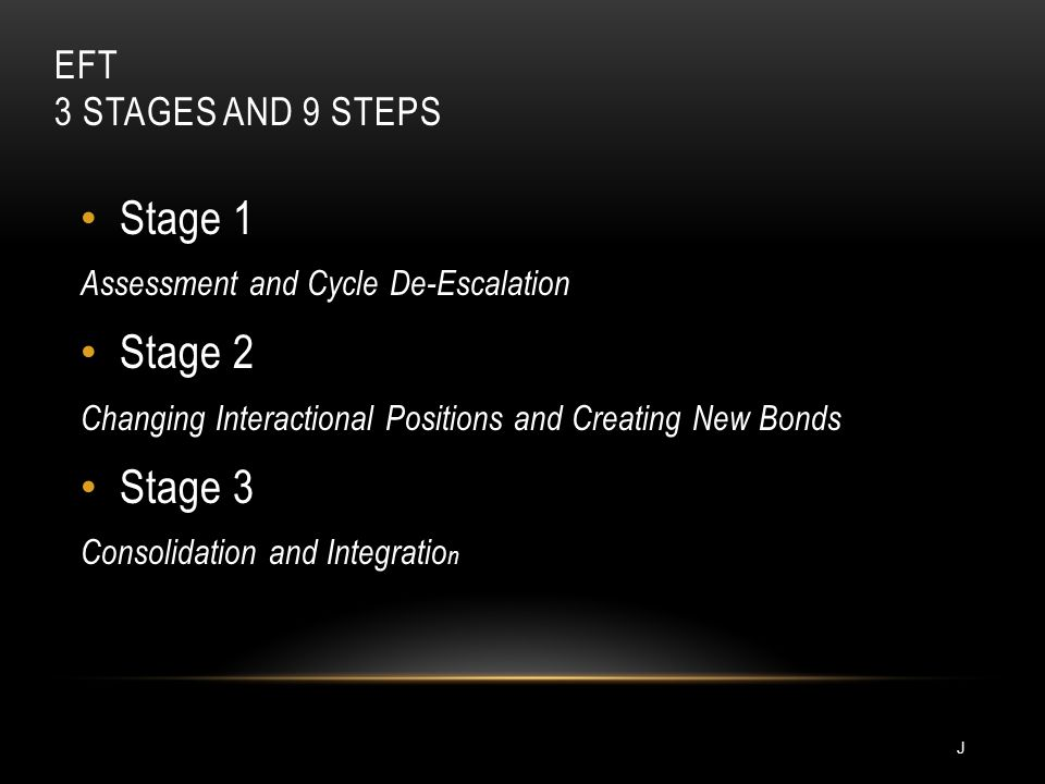 EFT 3 STAGES AND 9 STEPS Stage 1 Assessment and Cycle De-Escalation Stage 2 Changing Interactional Positions and Creating New Bonds Stage 3 Consolidat