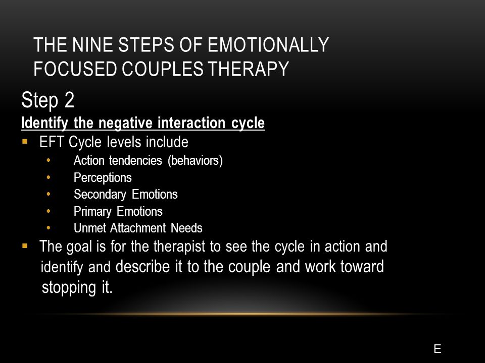 THE NINE STEPS OF EMOTIONALLY FOCUSED COUPLES THERAPY Step 2 Identify the negative interaction cycle  EFT Cycle levels include Action tendencies (behaviors) Perceptions Secondary Emotions Primary Emotions Unmet Attachment Needs  The goal is for the therapist to see the cycle in action and identify and describe it to the couple and work toward stopping it.