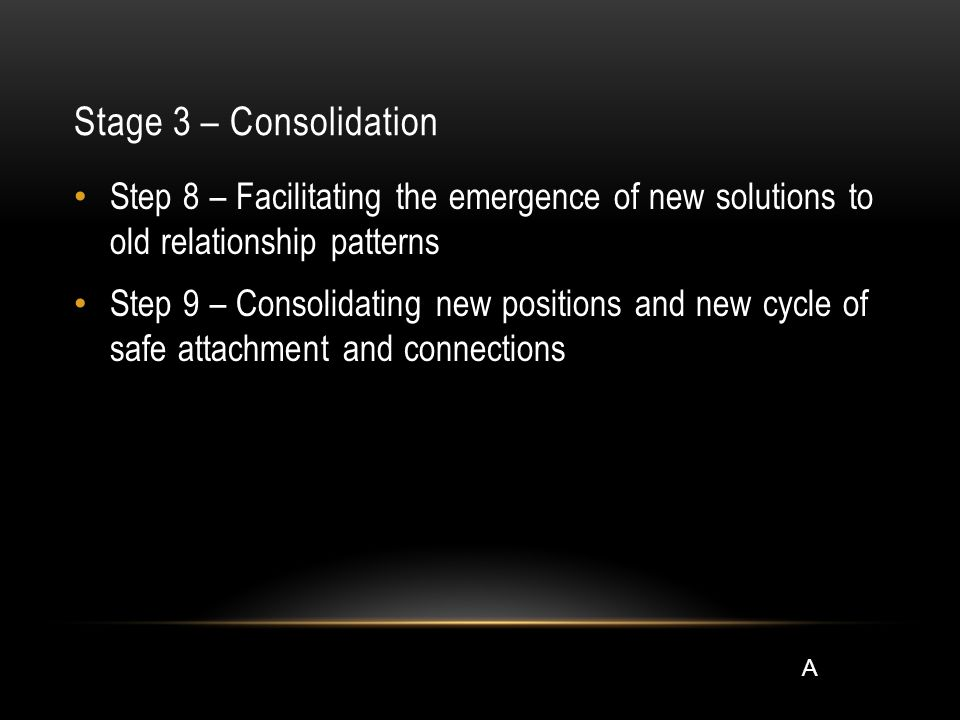 Stage 3 – Consolidation Step 8 – Facilitating the emergence of new solutions to old relationship patterns Step 9 – Consolidating new positions and new cycle of safe attachment and connections A