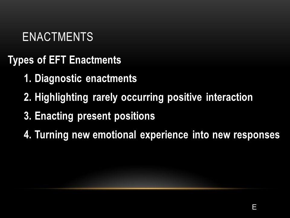 ENACTMENTS Types of EFT Enactments 1. Diagnostic enactments 2.