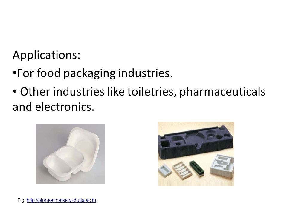 Applications: For food packaging industries.