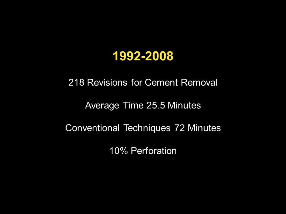 1992-2008 218 Revisions for Cement Removal Average Time 25.5 Minutes Conventional Techniques 72 Minutes 10% Perforation