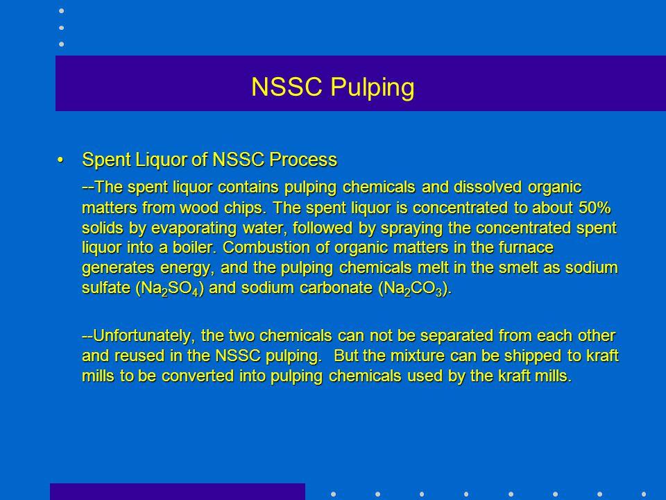 Spent Liquor of NSSC ProcessSpent Liquor of NSSC Process -- The spent liquor contains pulping chemicals and dissolved organic matters from wood chips.
