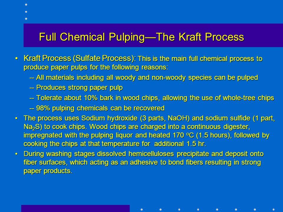 Full Chemical Pulping—The Kraft Process Kraft Process (Sulfate Process): This is the main full chemical process to produce paper pulps for the followi