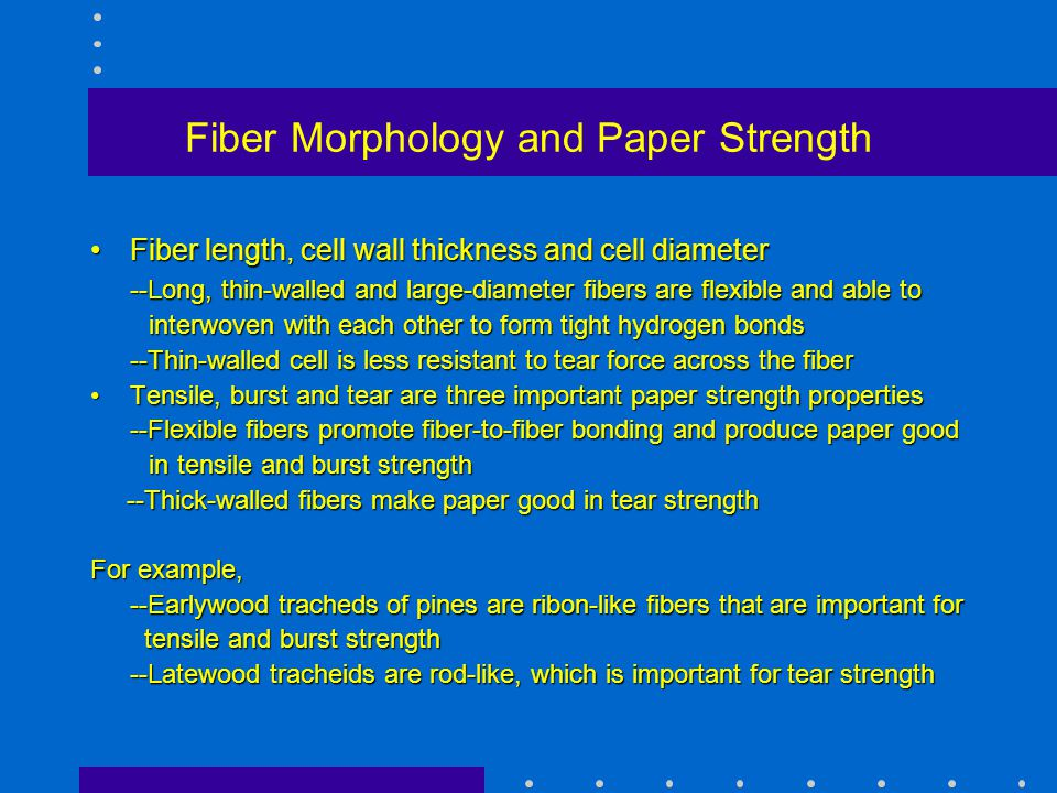 Fiber Morphology and Paper Strength Fiber length, cell wall thickness and cell diameterFiber length, cell wall thickness and cell diameter --Long, thi