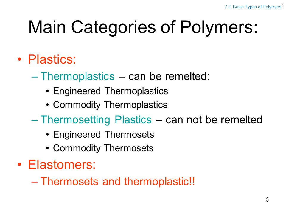 Main Categories of Polymers: Plastics: –Thermoplastics – can be remelted: Engineered Thermoplastics Commodity Thermoplastics –Thermosetting Plastics –