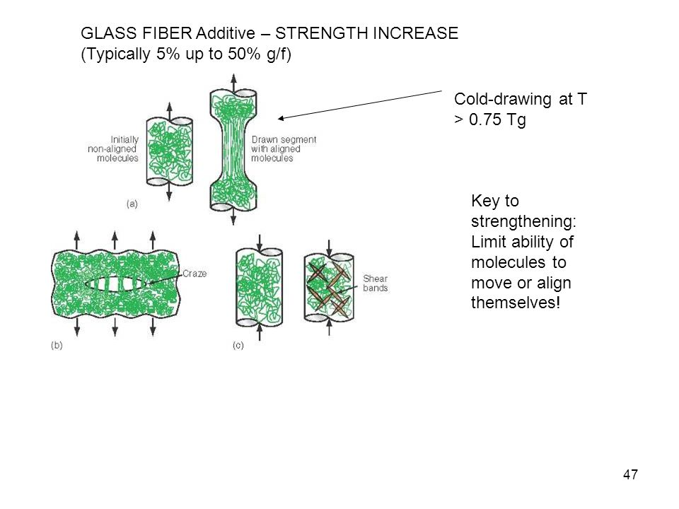 Cold-drawing at T > 0.75 Tg Key to strengthening: Limit ability of molecules to move or align themselves! 47 GLASS FIBER Additive – STRENGTH INCREASE