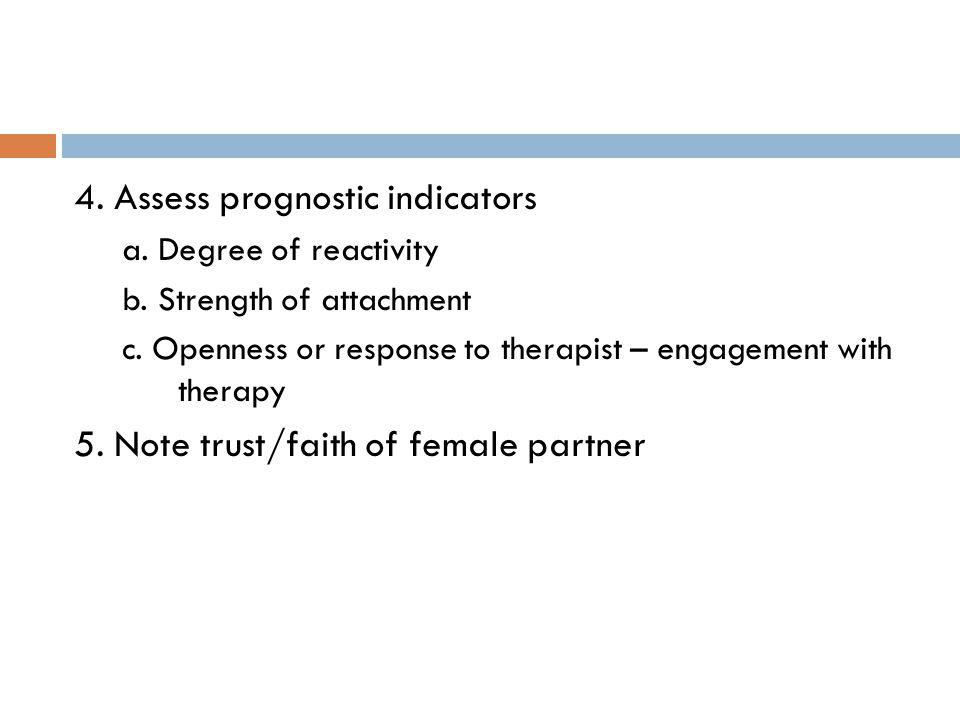 4. Assess prognostic indicators a. Degree of reactivity b.