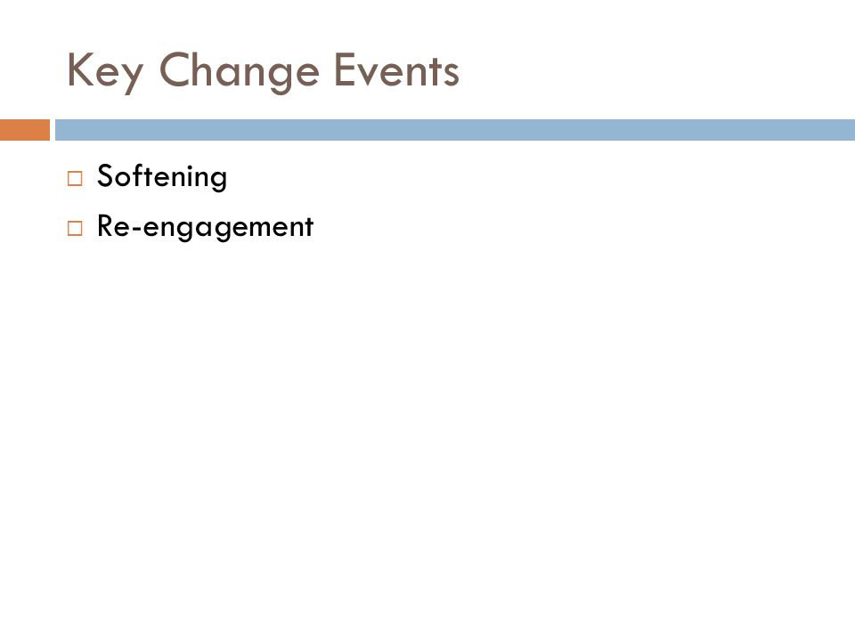 Key Change Events  Softening  Re-engagement
