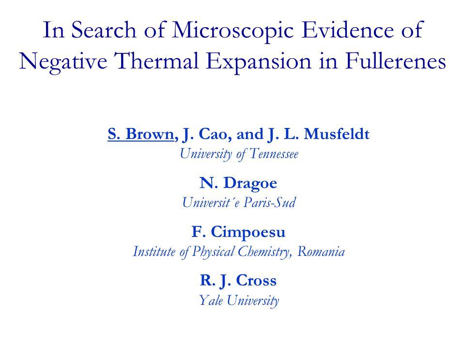 S. Brown, J. Cao, and J. L. Musfeldt University of Tennessee N. Dragoe Universit´e Paris-Sud F. Cimpoesu Institute of Physical Chemistry, Romania R. J