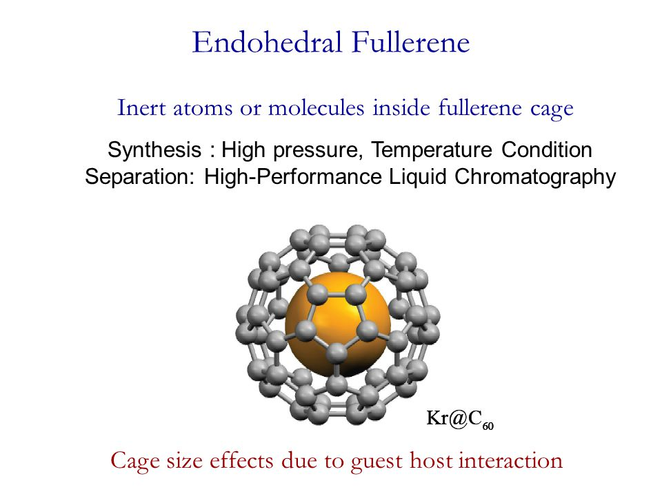 Endohedral Fullerene Inert atoms or molecules inside fullerene cage Cage size effects due to guest host interaction Synthesis : High pressure, Tempera