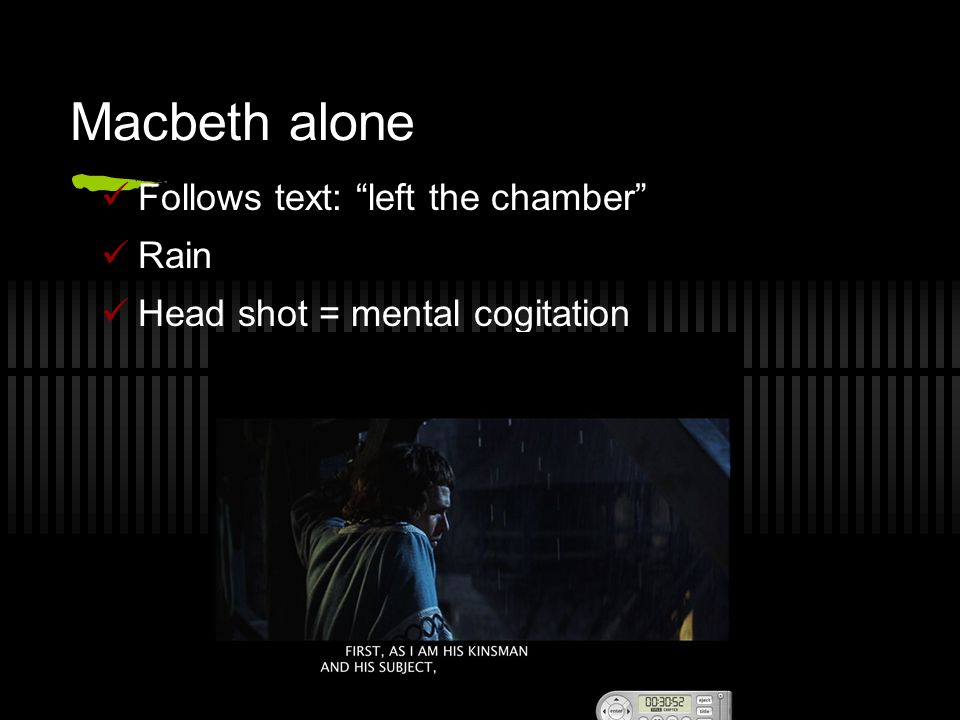 Macbeth alone Follows text: left the chamber Rain Head shot = mental cogitation